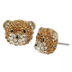 Betsey Johnson Teddy Bear Crystal Pave Earrings